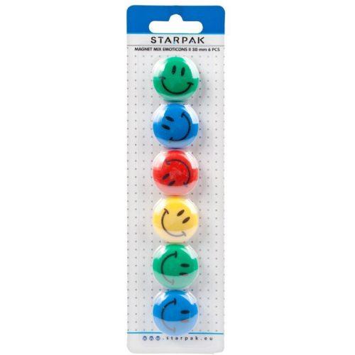 Smiley, emoji mágnes szett, 6 db-os, színes