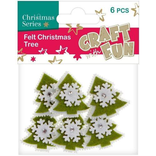 Filc formák, karácsonyfák, zöld-fehér, 6 db/csomag