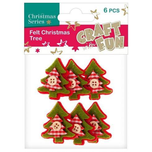 Filc formák, karácsonyfák, zöld-piros, 6 db/csomag