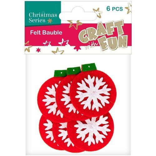 Filc formák, karácsonyfadíszek, 6 db/csomag