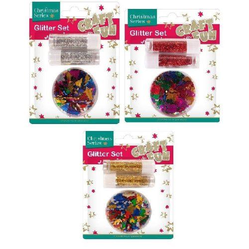 Karácsonyi dekorációs alapanyagok, 3 féle (arany, piros vagy ezüst csillámpor színes konfettikkel)