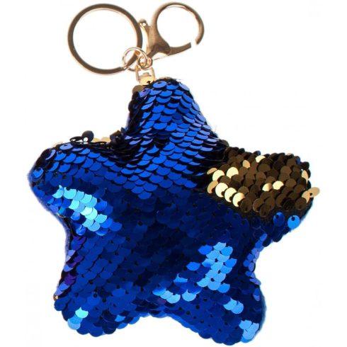 Starpak flitteres kulcstartó, táskadísz csillag alakú, kék-arany (átfordulós)