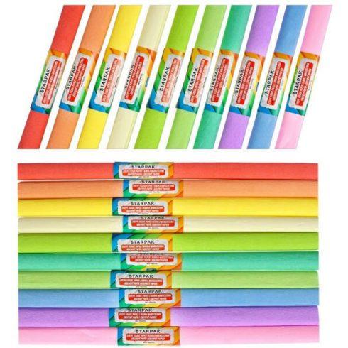 Krepp papír 50X200cm, 10 db szín/csomag, pasztell színek