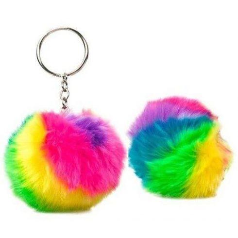 Pom-pom, plüss kulcstartó, táskadísz, szivárvány színű
